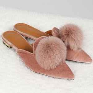 NEW POL blush pink velvet mules with fur pom pom